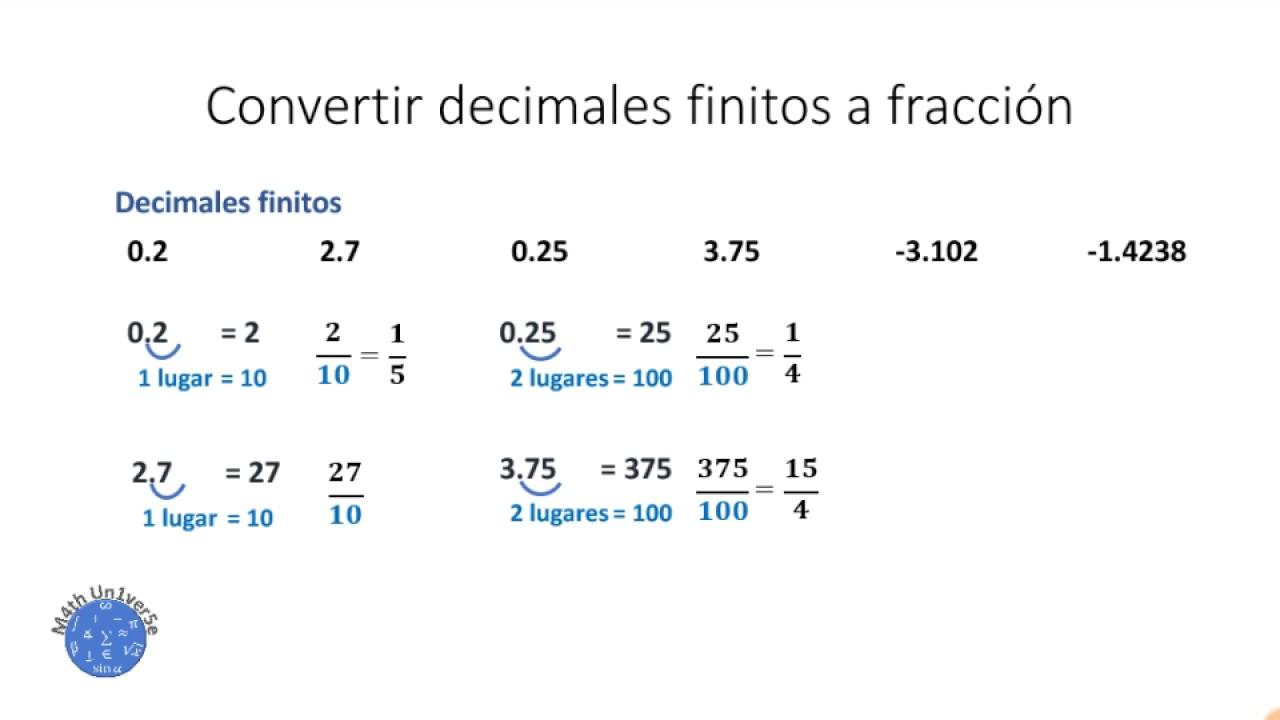 convertir decimales a fracciones ejercicios pdf