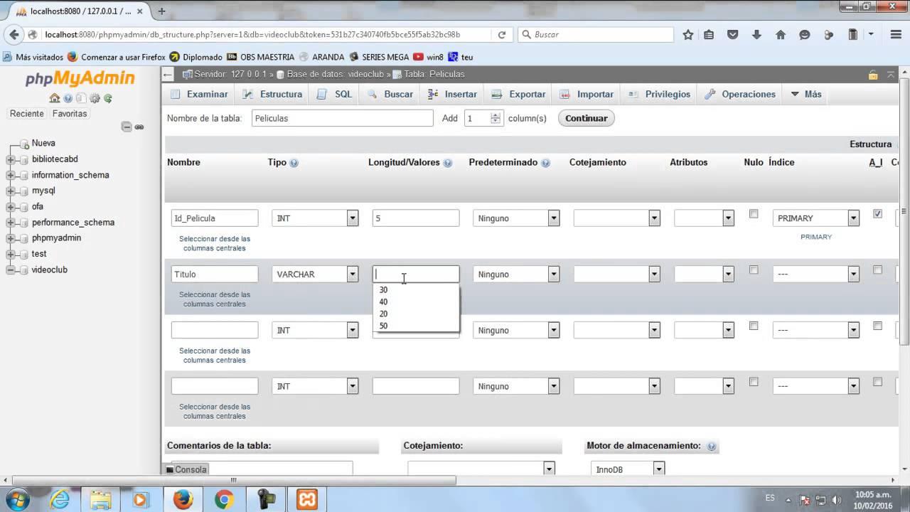 consulta creacion de tabla pdf