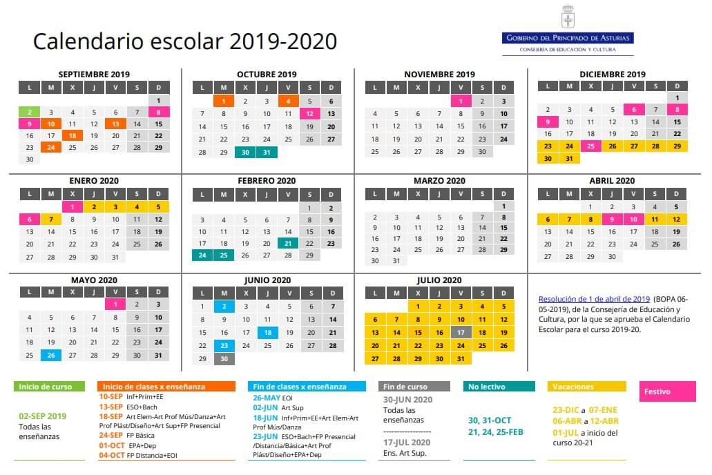 calendario escolar 2019 para imprimir pdf