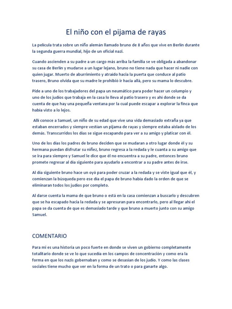 cuestionario niño pijama rayas pdf completo