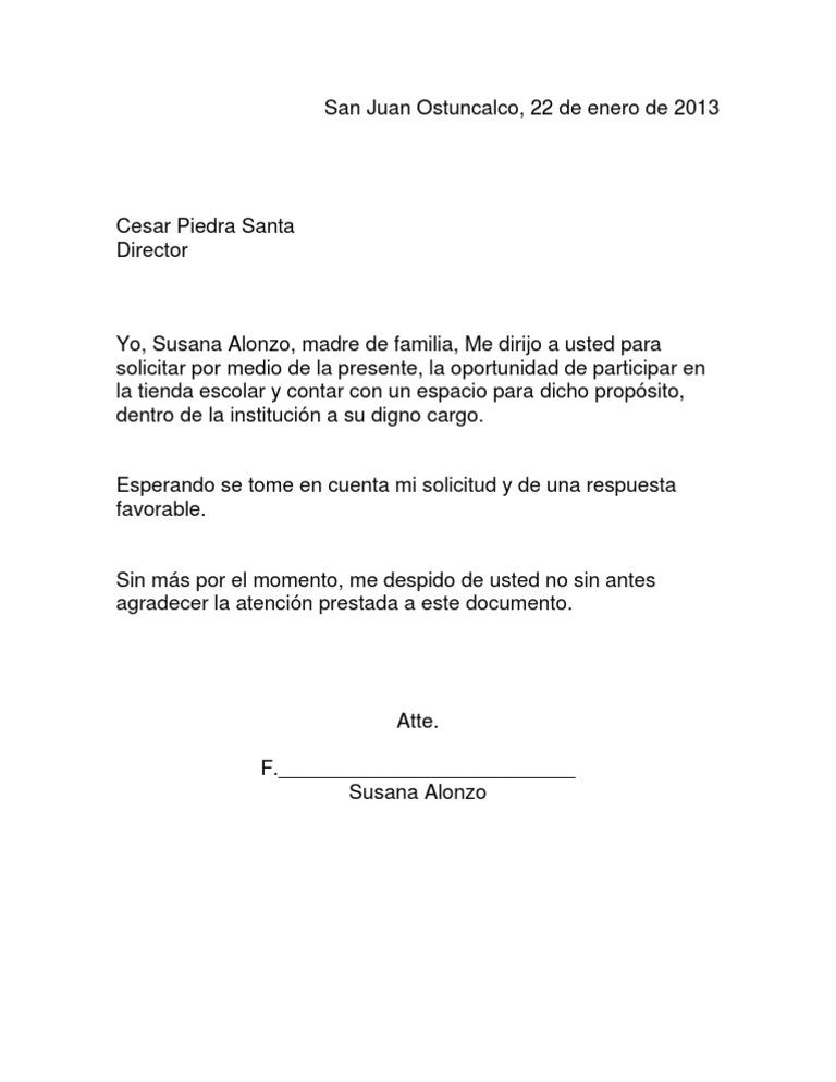 carta de solicitud de permiso para vender comida