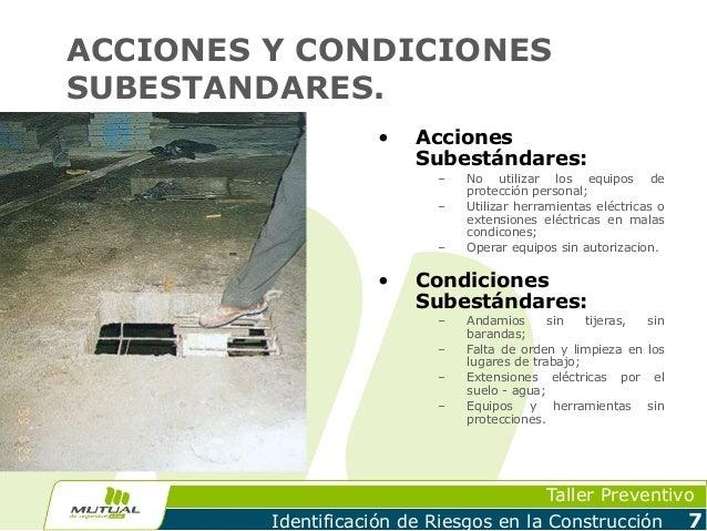 condiciones y acciones subestandares en trabajos de soldaduras
