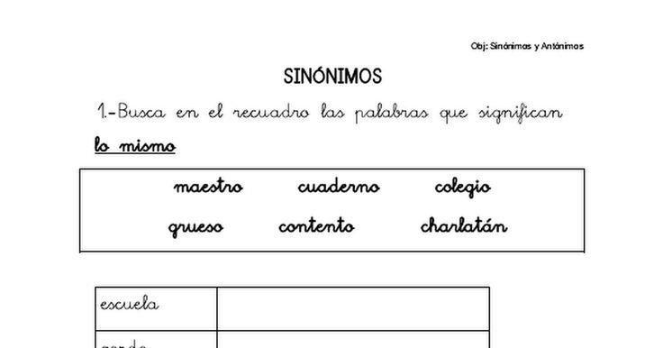 actividad sinonimos y antonimos pdf
