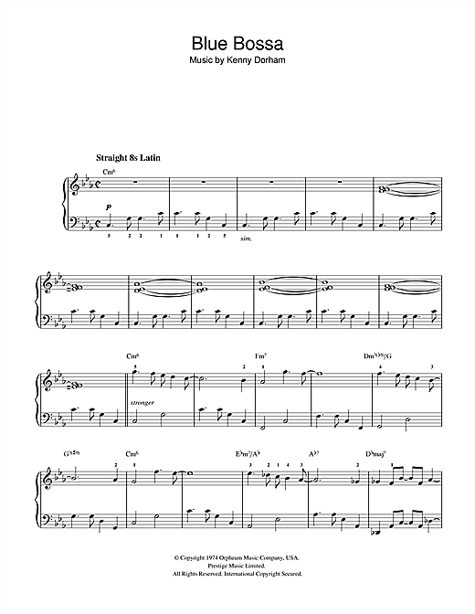 blue bossa partitura piano pdf