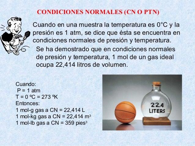 ºc del agua a condiciones normales