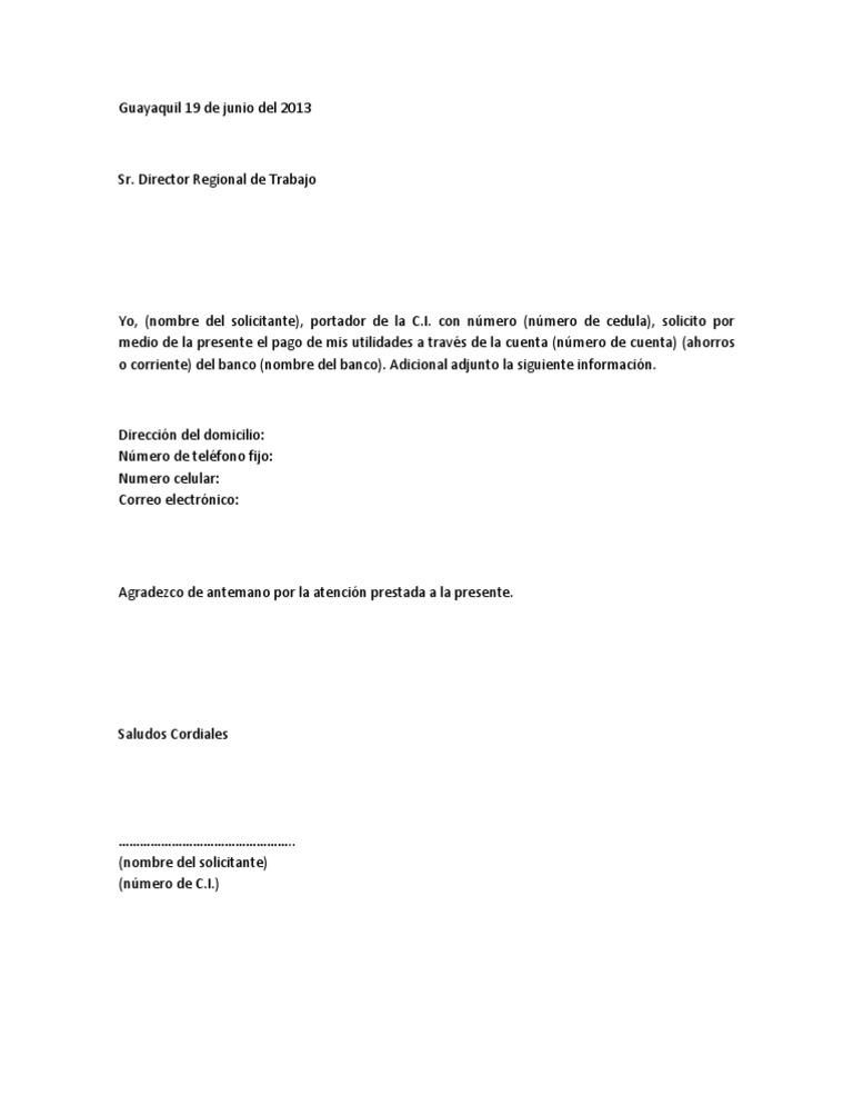 carta solicitud de feriado legal
