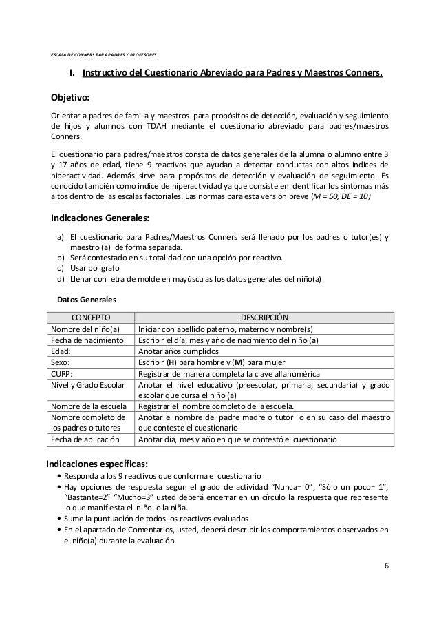 conners abreviado para padres pdf